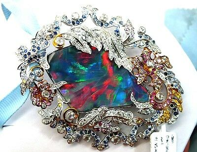 Opal Brooch -Pendant 18K Solid Collector Pc