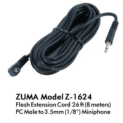 """Flash Extension Cord 5 Meter / 16 Feet PC Male to 3.5mm (1/8"""") Mono"""