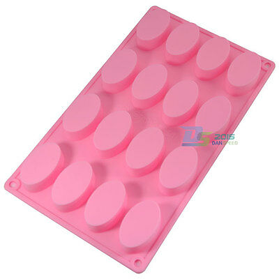 16-Cavity Oval Shape Soap Mold Silicone Cake Chocolate Ice Mould DIY Baking Tool