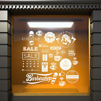 White Window Vinyl Sticker Cafe Shop Bar Decal Barbershop Hairdresser Sale Wifi