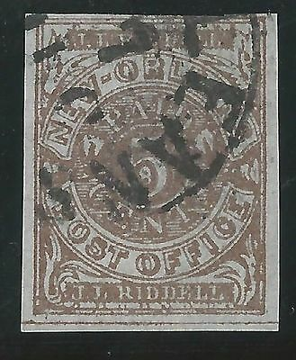 CSA Scott #62x4 Pos 34 Red-Brown New Orleans 5c Used Provisional Stamp N.O. CDS
