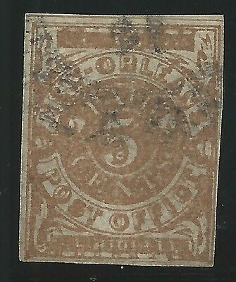 CSA Scott #62x5 Yellow-Brown New Orleans 5c Used Provisional Stamp N.O. CDS