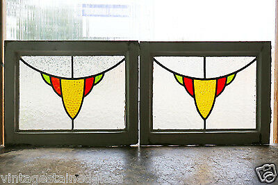 Pair of Antique Stained Glass Windows Three Color Design                  (2882)
