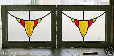 Pair of Antique Stained Glass Windows Three Colors Gold          (2884)