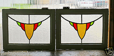 Pair of Antique Stained Glass Windows Three Colors Gold Design            (2886)