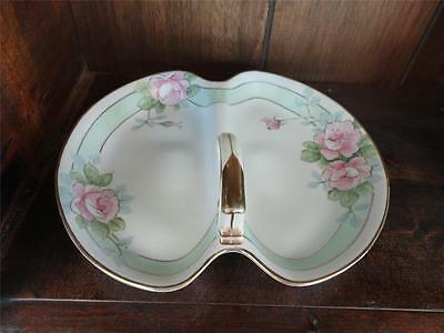 Lovely Nippon Center Handled Roses Divided Serving Dish Green Wreath Mark