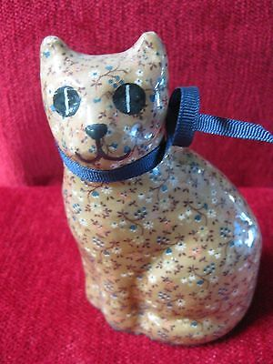 FLORAL PATTERN CERAMIC CAT/ PAPER WEIGHT
