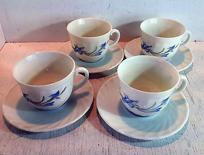 4 Vintage Arcopal France Milk Glass Cups & Saucers, Swirl with Iris (2356)