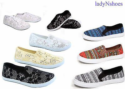 New Women's Fashion  Lace Up Slip On Round Toe Flat Sneaker Shoes Size 5 - 10