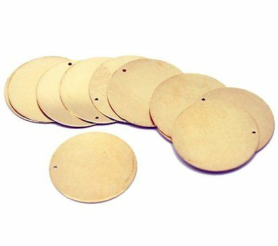 30 Solid Brass Stamping Round Blanks with Hole Disk Tag Pendants 28mm 1-1/8 Inch