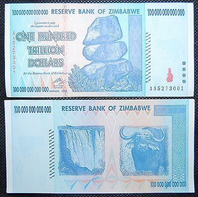 4X Zimbabwe 100 Trillion Dollars Currency 2008 Aa Series!  | Over 50 In Stock!