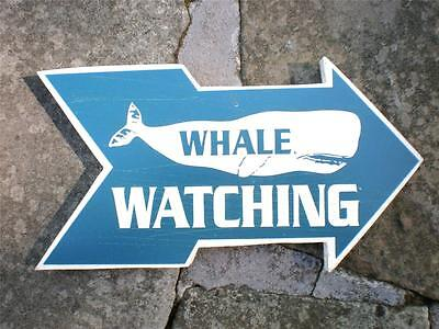 WHALE WATCHING SIGN Weathered Wood Look-Nautical Home Decor Beach Ocean Marine