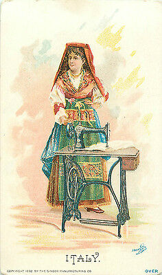 Singer Sewing Machines Italy Woman 1892 Trading Card