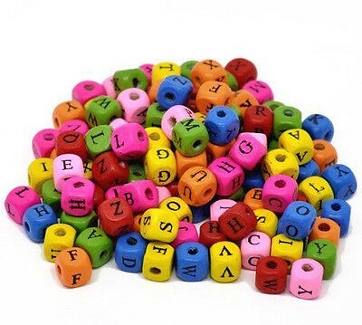 """Rockin Beads 450 Mixed Color Wood Alphabet /Letter """"A-z"""" Cube Spacer 10x9mm"""