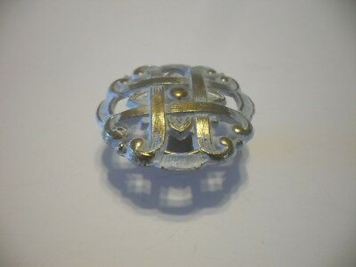 Vintage NOS White & Brass Metal Knobs Cabinet Door Drawer Pulls Lattice Pattern