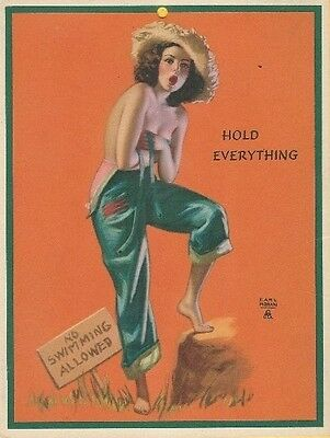 EARL MORAN Litho Brown & Bigelow PIN-UP CALENDAR CARD C. 1940s Hold Everything