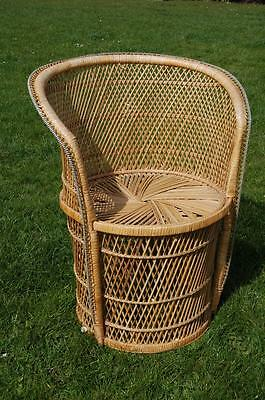Fab Vintage Retro Petite Peacock Wicker Chair - 1960's 1970's - Cool!