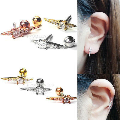 16G Surgical Steel Helix Body Ear Piercing CZ Crystal Stud Bar Barbell Earrings