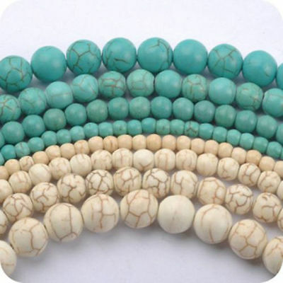 New Lots Of Howlite White/Blue Turquoise Gemstone Round Loose Beads 4/6/8/10mm