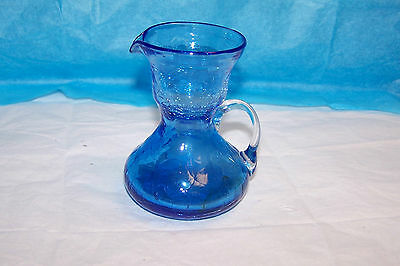 """Beautiful Small Hand Blown Blue Crackle Glass Syurp Or Cream Pitcher 4"""""""