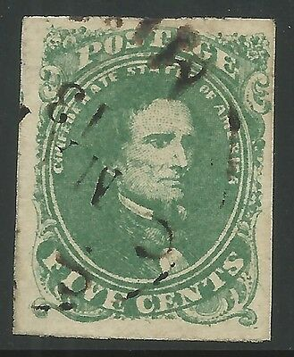 CSA Scott #1 Stone 2 Pos 6 Used Confederate Stamp Osyka, MS March 13, 1862 VF