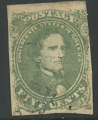 CSA Scott #1 Stone 2 Pos 17 Used Confederate Stamp