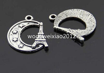 15pc Tibetan Silver tower moon Pendant Charms Beads Accessories GP209