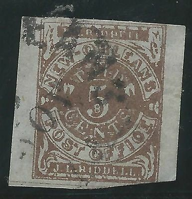 CSA Scott #62x4 Pos 3 New Orleans 5c Used Provisional Stamp Nov 1861 CDS