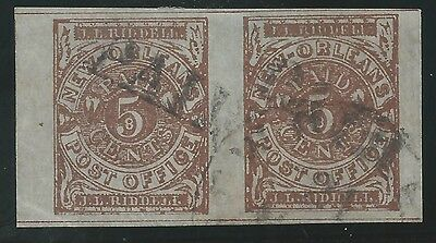 CSA Scott #62x4 Pos 11-12 New Orleans 5c Used Pair of Provisional Stamps VF PAID