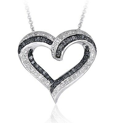 0.50ct TDW Black & White Diamond Open Heart Necklace