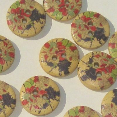 Printed Colorful Pattern Set 12 New Wood Wooden Buttons 5/8""