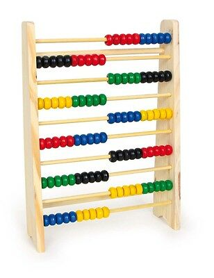Wooden Abacus 10 Rows Maths Mathematics Aid Help Toy Fun Educational