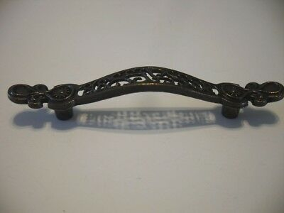 Vtg NOS Drawer Pulls Antique Brass Handles VICTORIAN Cutout Pattern LACY LOOK
