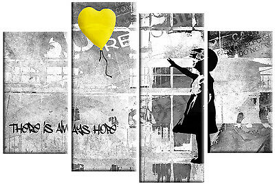 """BANKSY YELLOW GREY CANVAS GIRL WITH BALLOON WALL ART 4 PANEL PICTURE 40""""x 27"""""""