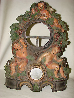 SCARCE LARGE 19″ ANTIQUE CAST IRON MIRROR OR CLOCK BASE painted CHERUBS