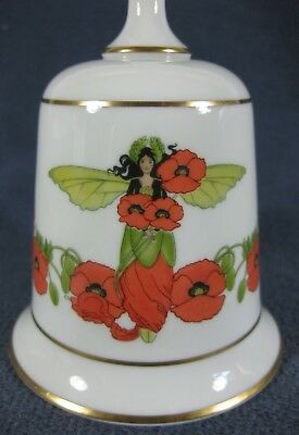 Vintage Franklin Porcelain Poppy Flower Fairy Fine Bone China Bell 1979
