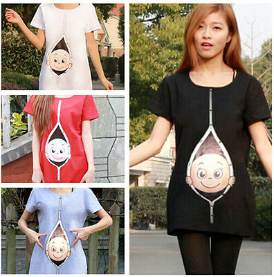 Women Pregnancy Top T-Shirt Maternity Mum Peek-a-boo Baby Inside Clothes Tunics