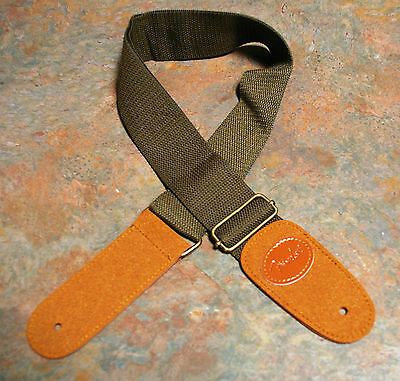 Guitar Strap, New, Cotton/leather, Dark Khaki/brown, Embossed With Logo.