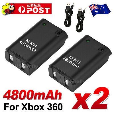 2x for Xbox 360 Battery Charger Wireless Rechargeable Controller USB Cable Black