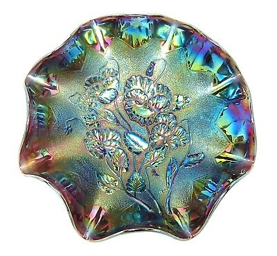 """Vintage IMPERIAL Purple AMETHYST Carnival Glass """"PANSY"""" Pattern RUFFLED Bowl"""