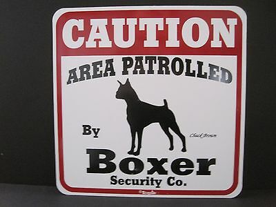 Sign: CAUTION: AREA PATROLLED by Boxer Security Co. (Minor Imperfection)
