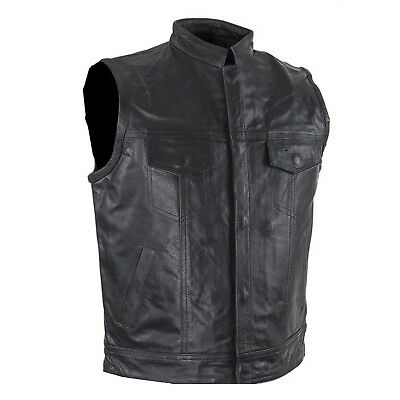 NEW SOA LEATHER KIDS BOYS GIRLS VEST w/SNAP & FRONT SLASH POCKETS - DA48