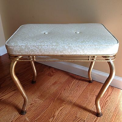 Vtg Mid Century Gold Tone Metal Wire Vanity Bench Stool