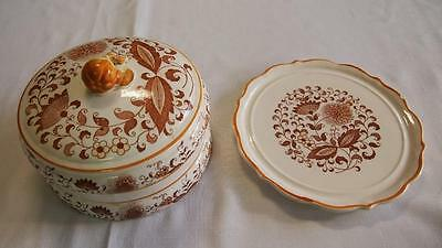 Vintage BROWN ONION CHEESE PLATE w. COVER - Brown Transfer Pattern - Japan