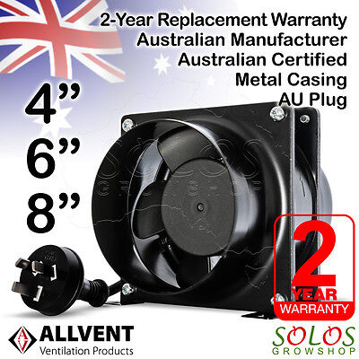 "4""/6""/8"" Hydroponic Inline Exhaust Fan Ventilation Silent Extractor Allvent A40"
