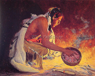 Eanger Irving Couse Indian Firelight Artist Painting Oil Canvas Repro Art Deco