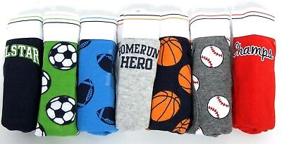 Carters 7 Pack Briefs - Boys Cotton Pants - Size 2-3 - Football / Sports Theme