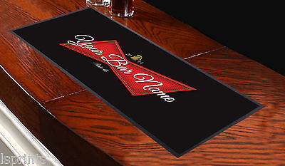 PERSONALISED RED LABEL Bar Towel Runner Pub Mat Beer Cocktail Party Gift