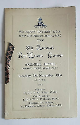 91st heavy battery RGA 1934 reunion dinner menu