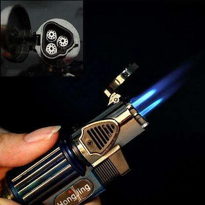 Triple Jet Windproof Torch Gas Lighter Flame Butane For Cigar Cigarette
